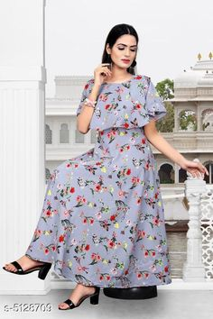 Checkout this latest Dresses Product Name: *Printed Grey Calf-Length Crepe Dress* Fabric: Crepe Sleeve Length: Short Sleeves Pattern: Printed Multipack: 1 Sizes: S, M (Bust Size: 38 in, Length Size: 50 in)  L, XL, XXL Country of Origin: India Easy Returns Available In Case Of Any Issue   Catalog Rating: ★4 (631)  Catalog Name: Stylish Retro Women Dresses CatalogID_756964 C79-SC1025 Code: 023-5128709-738