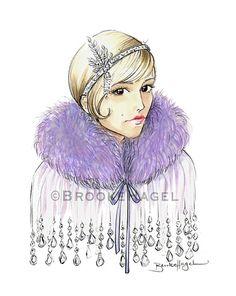 """""""Daisy"""" Gatsby Fashion Illustration print by Brooke Hagel on Etsy. Carey Mulligan Sketch"""