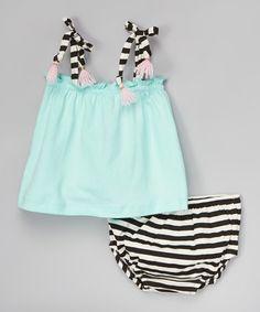 Green Swing Top & Black Stripe Diaper Cover - Infant