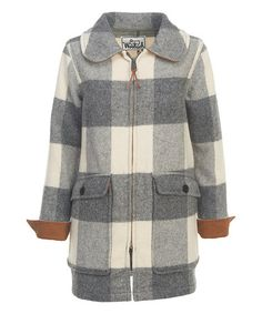 Look at this #zulilyfind! Gray Buffalo Plaid Wool-Blend Coat #zulilyfinds