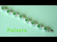 (21) # DIY - Pulsera fácil de perlas, tupis y mostacillas Easy bracelet with pearls - YouTube