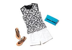 DVF Betty Lace Shell Top In White/ Black & 440 Envelope Leather Clutch