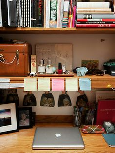 the way this desk is arranged takes advantage of the space without be tooooo cluttered -- you have to stay organized and maximize space at the same time.