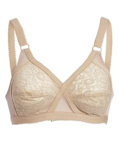 Beige Lace Wireless Full-Fit Crossover Bra - Plus Too