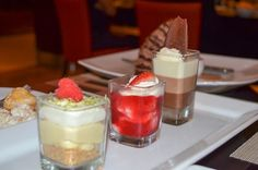 Key lime pie, triple chocolate mousse and strawberry cheesecake! You've gotta try our sear triple dessert shooters!