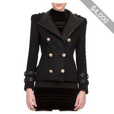 Balmain Wool & Leather Military Jacket