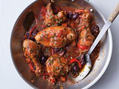 The Italian classic of chicken braised with tomatoes and wine, with capers and olives for kick.