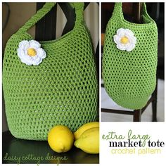 large market tote crochet pattern by Daisy Cottage Designs, via Flickr. Free pattern.