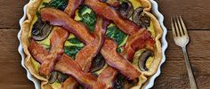 Elevate your senses and your menu with this Bacon Lattice Breakfast Tart with Spinach and Mushrooms recipe from Smithfield.