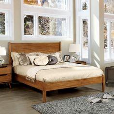 Furniture of America Corrine Mid Century Modern Platform Bed (Oak - Eastern King), Brown