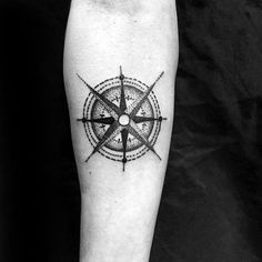Man With Nautical Star Small Manly Inner Forearm Tattoo Design