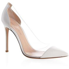 Gianvito Rossi Calabria Plexi Pump (1,000 CAD) ❤ liked on Polyvore featuring shoes, pumps, clear lucite shoes, heels stilettos, clear pointed toe pumps, clear pumps and clear stilettos