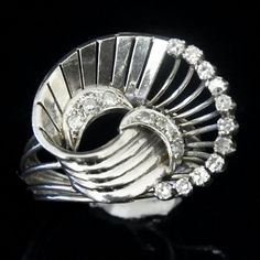 Vintage Old Hollywood Glam Diamonds 14k White Gold Ring Estate Mid Century Retro This design in a hair piece perhaps?