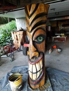 Tiki Totem, Tiki Tiki, Tiki Hut, Tiki Faces, Tiki Statues, Tiki Bar Decor, Hawaiian Tiki, Tiki Mask, Wooden Crosses