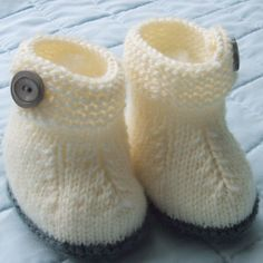Baby Booties Knitted Pure Wool White