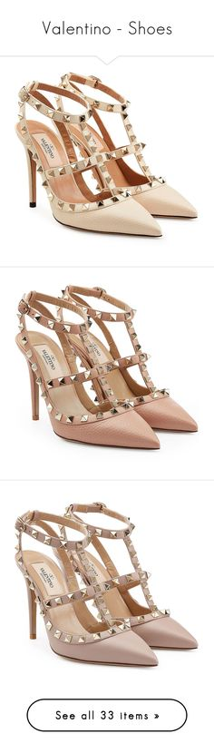 """""""Valentino - Shoes"""" by giovanna1995 ❤ liked on Polyvore featuring Leather, Pumps, valentino, studded, ROCKSTUD, shoes, pumps, beige, valentino shoes and leather pumps"""
