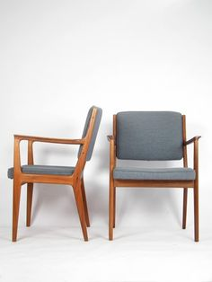 Pair of stunning teak wood dining chairs with arms, in vintage original upholstery, with new foam. Designed by Karl-Erik Ekselius for J.C. Mobler, Sweden. Mid Century Scandinavian Design. We ship world wide :-)