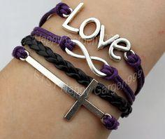 silvery cross bracelet love bracelet infinity by happygarden999, $4.99