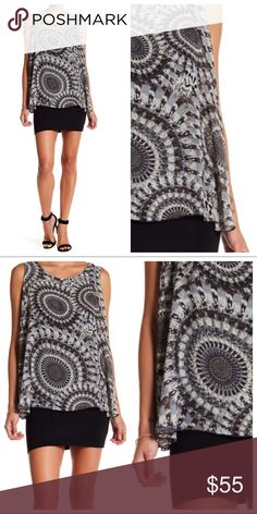 """Papillon Double Layer Mini Dress New With Tags - mini dress with scoop neck, inner bodycon layer in black and outer sheer printed layer in gray and white. Shell:100% Polyester. Lining: 95% Viscose, 5% Elastane. Bust 44""""- 46"""", Length 31"""". Papillon Dresses Mini"""