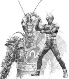 石ノ森章太郎の原作連載もあった、力の入った秀作。ライダーのデザイン、物語の構成、音楽も全体的に非常に高いレベルで完結しているのではないかと個人的に思っています。バックは中間形態のバッタ男のイメージ。