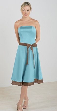 Bridesmaids dress. Tiffany blue/chocolate brown would be cute as ...