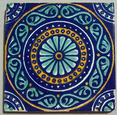 "6 Mexican Talavera Pottery 4"" Tile Hand Painted Wall Folk Art Venice Italy CD 