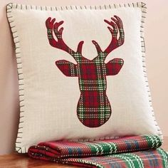 Deer Pillow With Down Fill is a special cottage Christmas pillow. Visit Antique Farmhouse for more farm style throw pillows. Christmas Sewing, Christmas Fun, Christmas Decorations, Christmas Ornaments, Xmas, Christmas Cushions, Christmas Pillow, Diy Pillows, Throw Pillows