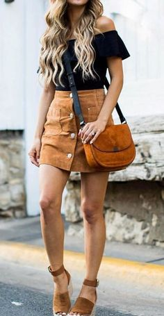 summer outfit of the day: top + bag + skirt + heels