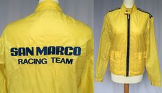 70's san marco racing team jacket, vintage rare racing team yellow jacket, M L 48 by RosaBoutiqueStudio on Etsy