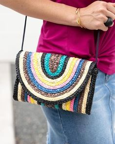 Say hello to your new favorite purse! The ultimate summertime accessory, this sweet little bag. Color Stripes, Black Stripes, Grace And Lace, Little Bag, Fashion Prints, How To Introduce Yourself, Shoulder Bag, Purses, Pattern