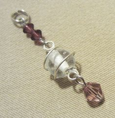 Silver Wire Wrapped Glass Add a Charm / Purse by Pizzelwaddels, $6.97