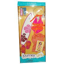 e6188f367362 Journey Girls 18 inch Doll Fashion Outfit - Orange Pink Stripe Bathing Suit  with Cover Up