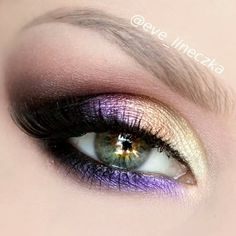 I this! Gorgeous purple and gold eye shadow makeup look for green eyes