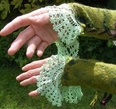 Doilies (from craft aisles/dollar stores) to lengthen sleeves