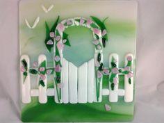Fused Glass Art Garden Gate Rose Arbor Glass by AngelasArtGlass