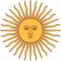 LIVING IN ARGENTINA: The Sun of May is a representation of the Inca sun god Inti. The sun is a replica of an engraving on the first Argentine coin, approved in 1813 by the Constituent Assembly. It features 32 rays, 16 undulated and 16 straight in alternation, and since 1978 it must be embroidered in the official ceremonial flag.
