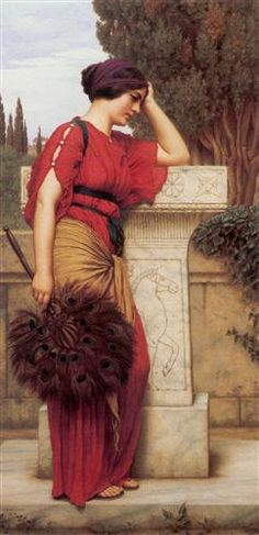 ▴ Artistic Accessories ▴ clothes, jewelry, hats in art - John William Godward | The Thoughtful One