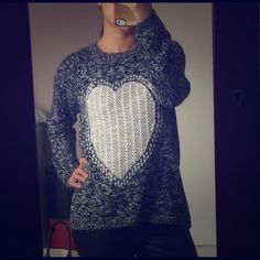 """Cute heart sweater! Adorable sweater with heart in front.  So easy to throw on anything and go!  Size says 12/40... whatever that means.  It feels like a M to me, though it depends on how you want it to fit you.  I'm 5'4"""" 125lbs.  Brand new! Love knitwear Sweaters"""