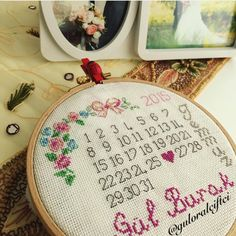 Aşk - wedding date - takvim - pano - kanaviçe - cross stitch - love