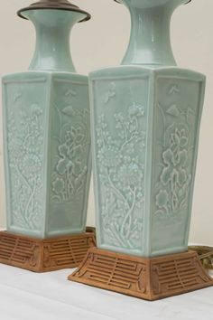 Pair of Early 20th C. Chinese Poreclain Celadon Lamps 5