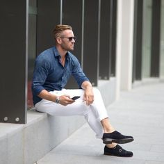 White Pant with Denim Shirt & Monk strap shoes - Men's Fashion Blog - TheUnstitchd.com