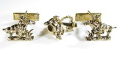 Gold Tone Cufflinks and Tie Tack with Pony Express Image by Sarah Coventry #SarahCoventry