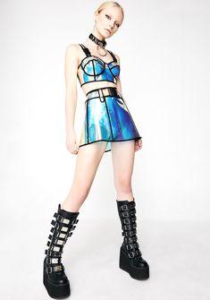 Stage Outfits, Fashion Outfits, Rave Festival Outfits, Holographic Fashion, Vinyl Mini Skirt, Mode Kawaii, Rave Wear, Sweater Set, Future Fashion