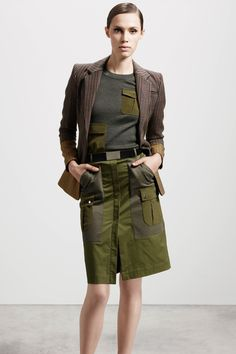 altuzarra - The Cut. all of this. right now. structured skirt. bright olive. patch pkt sweater.