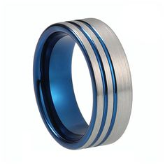 8mm Blue IP Tungsten Carbide Ring Two Tone Double Offset Lines Plated Pipe Cut