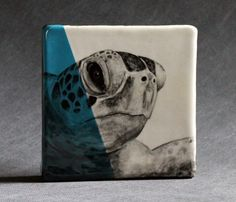 Hand Painted Hawksbill Sea Turtle Portrait Wall tile by duckdrakestudio, $60.00  Would love to do my whole bathroom in these...