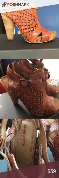 Open toe heeled Sandals All leather open toe heeled sandals.  Unique leather woven design.  Adjustable buckle around the ankle.  5 inch heel has a wedge, so they are very comfortable.  😉👍 Miss Sixty Shoes Sandals