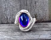 Silver Wire Wrapped Ring Shiny Volcano Oval Czech Glass Foiled Cabochon