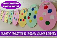 Easter Crafts for Kids: Make a Garland Fine Motor Skills Activity Planning on making these in classroom and string them up in a pattern with the students' help Easter Activities For Preschool, Easter Crafts For Toddlers, Toddler Crafts, Kids Crafts, Spring Activities, Easter Arts And Crafts, Bunny Crafts, Easter Projects, Easter Garland
