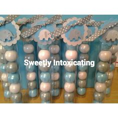 This listing is for 12 gumball tubes filled with blue, white and grey shimmer gumballs and baby elephant favor tags. Each tube is tagged and Baby Shower Favors, Baby Shower Themes, Boy First Birthday, Gumball, Baby Elephant, Favor Tags, First Birthdays, Grey, Handmade Gifts